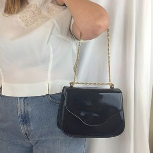 Vintage Patent Chain Strap Bag